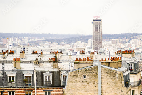 Wall mural Buiding exterior, Photo image a Beautiful panoramic view of Paris Metropolitan City