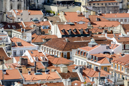 Wall mural aerial view of the city in Lisbon Capital City of Portugal