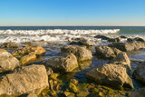 Seaview with rocks, waves and clear blue sky, Alassio, Liguria, Italy - 243868440