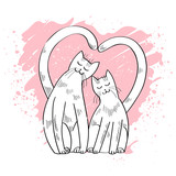 Two cute cats in love, card for valentines day, vector