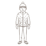 Vector Cartoon Outline Character - Young Man in Winter Outfit - 243871245