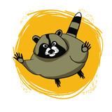 Color vector drawing, cute raccoon