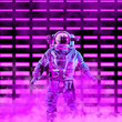 The neon astronaut / 3D illustration of science fiction scene with astronaut in space suit in front of glowing neon lights