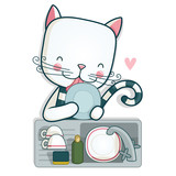 Cat washing the dishes