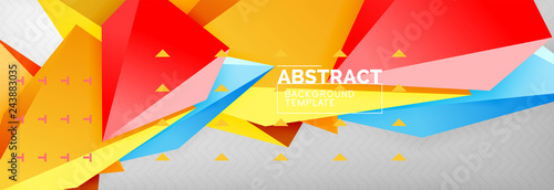 3d polygonal shape geometric background, triangular modern abstract composition - 243883035