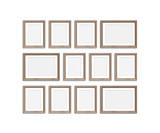 Frames collage, twelve blank wooden frameworks isolated on white background, gallery style mockup. 3D illustration - 243883676