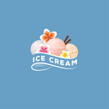 Ice Cream Logo. Three scoops of ice cream. Sweet dessert with tropic flowers and cinnamon sticks. Sign of cafe.