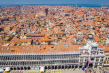 Panoramic view of Venice, Dodge Palace and red tiled roofs from Campanile on Piazza San Marco (Saint Mark Square), Venice, Italy