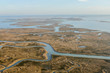 Beautiful photo picture view bird eye of Venice Lagoon From the Sky Airplane