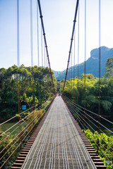 iron suspension bridge for cross the river © chachanit