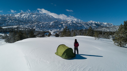unusual winter camp and tranquility in nature