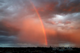 Fototapeta Tęcza - Rainbow and Sunset over Spokane Washington USA © Paul