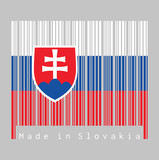 Barcode set the color of Slovak flag, white blue and red; charged with a shield containing a white cross is placed to left of center.