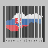 Barcode set the shape to Slovakia map outline and the color of Slovakia flag on black barcode with grey background.