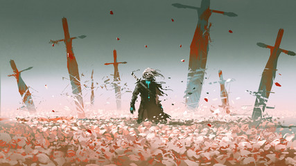 death knight standing alone in the rose field with big broken swords stuck into the ground, digital art style, illustration painting © grandfailure