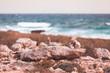Stone cairn on Mediterranean Sea coast