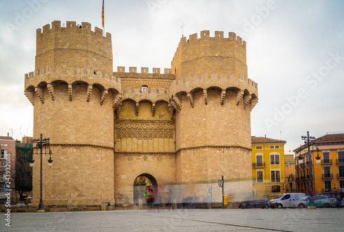 Slow shutterspeed view of the Serranos Towers or Torres Serrano, a medieval gate in Valencia.