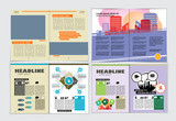 Corporate booklet or presentation templates. Easy for use in flyer, vector - 243937680