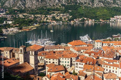 Sticker View from above on the old town of Kotor and Kotor Bay, Monteneg