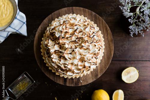 Leinwandbild Motiv Lemon meringue pie food photography