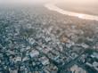 Aerial drone shot of the holy city of Varanasi, India - 243959078
