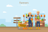 Farm shop. Local market. Selling fruit and vegetables. - 243981028
