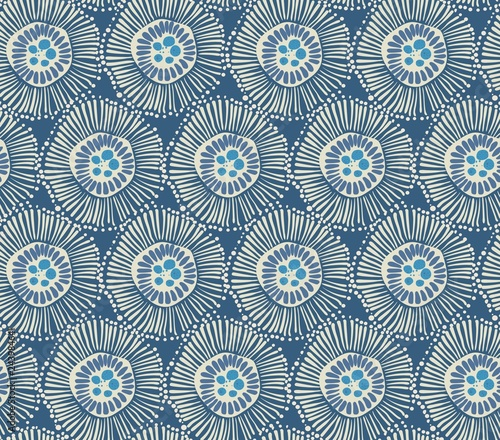 blue seamless pattern with big abstract shapes - 243984641