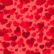 Valentine's day vector background template, red paper hearts on red background