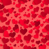 Valentine's day vector background template, red paper hearts on red background - 243997215