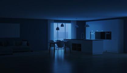Modern house interior. Night. Evening lighting. 3D rendering. © artemp1