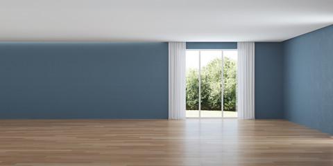 Modern house interior. Interior with blue walls. 3D rendering. © artemp1