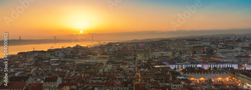 Fridge magnet Panorama of Lisbon by Golden Hour