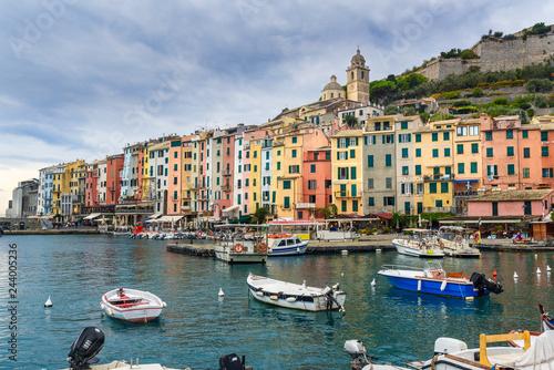 Harbor at boat in Portovenere or Porto Venere town on Ligurian coast. Italy