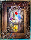 Surreal background with mysterious and enchanted window
