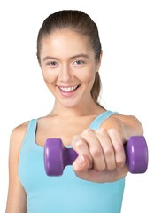 Portrait of a Woman Lifting Dumbbells © BillionPhotos.com