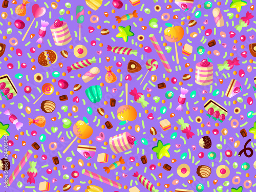 obraz PCV Cute seamless pattern with colorful sweets, cakes, lollipops. Cartoon seamless pattern with candy and sweet dessert. Fun colorful sweet pattern with candy, ice cream, round lollipops. Candy pattern
