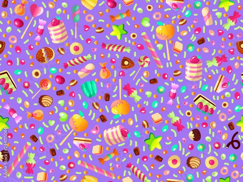 fototapeta na ścianę Cute seamless pattern with colorful sweets, cakes, lollipops. Cartoon seamless pattern with candy and sweet dessert. Fun colorful sweet pattern with candy, ice cream, round lollipops. Candy pattern