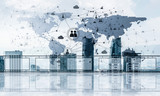 Concept of global communication and networking with world map ov