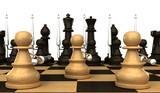 Concept. Chess pawn with spears. isolated. black background. 3d