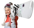 Young Female Snowboarder Isolated