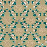 Three color damask trendy pattern with leafy scrolls, flowers and butterflies. Green (cyan), light brown and pastel pink seamless vector repeat pattern.  - 244030427
