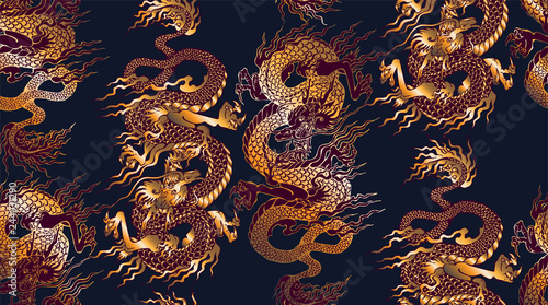 Pattern of asian dragon. Vector illustration. Suitable for fabric, wrapping paper and the like © Helen Trupak