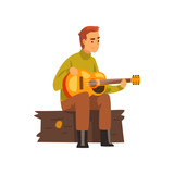 Young man playing guitar, hiking adventure travel, camping and relaxing concept, summer vacation vector Illustration - 244033202