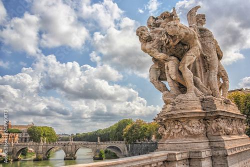 obraz PCV Statue of Vittorio Emanuele II Bridge, Rome, Italy