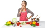 Portrait of a Woman Cooking Vegetables - 244053245