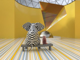 elephant and dog in the modern art museum - 244066627