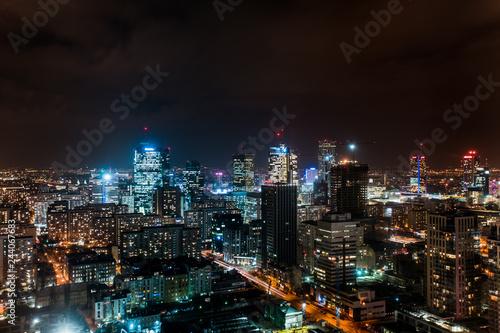 Warsaw city view at night