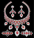 Illustration of jewelry set necklace, earrings and bracelets with rubies and diamonds