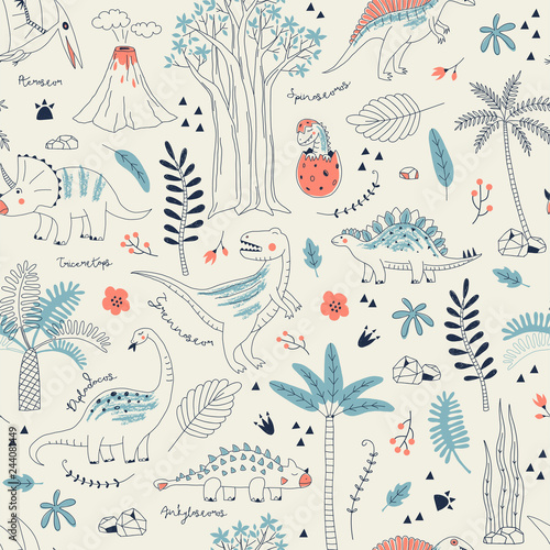 Childish seamless pattern with hand drawn dino in scandinavian style. Creative vector kid-like background for fabric, textile, apparel and more