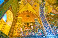 """Постер, картина, фотообои """"The amazing frescoes in Chehel Sotoun Palace in Isfahan, Iran"""""""